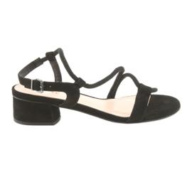 Sandały czarne na obcasie Edeo 3386