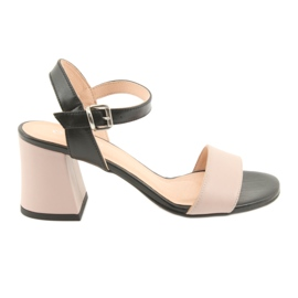 Sandały damskie Edeo 3339 pudrowo/czarne