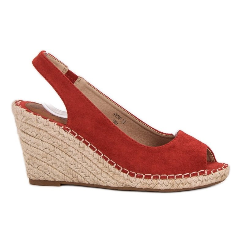 Seastar Sandały Na Koturnie czerwone