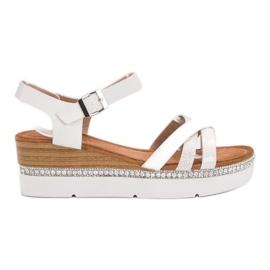 Seastar białe Modne Sandały Z Cyrkoniami