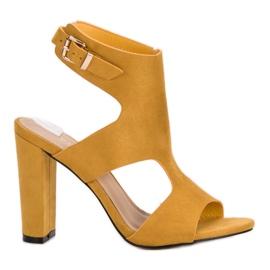 Ideal Shoes żółte Seksowne Sandałki Na Obcasie