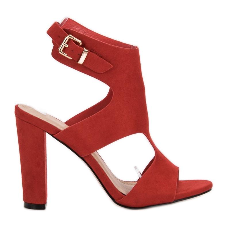 Ideal Shoes Seksowne Sandałki Na Obcasie czerwone