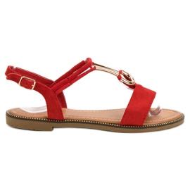 Laura Mode Zamszowe Sandałki czerwone