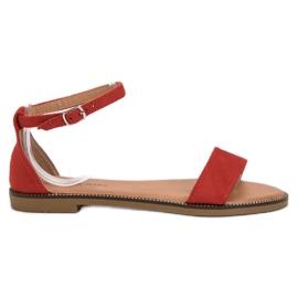 Laura Mode czerwone Klasyczne Płaskie Sandałki