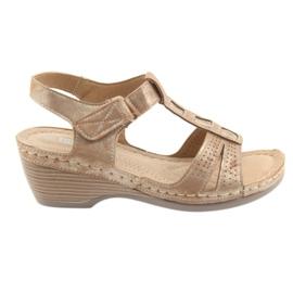 Brązowe Sandały damskie komfortowe DK złoty beż