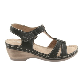 Sandały damskie komfortowe DK czarne szare