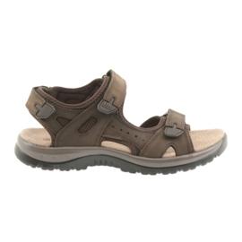 Brązowe Sandały DK Brown na rzepy lekki spód EVA