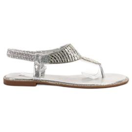 Sweet Shoes szare Stylowe Sandały Na Lato