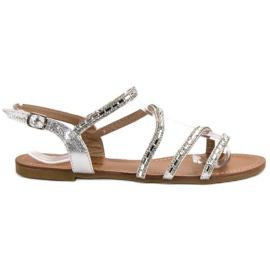 L. Lux. Shoes szare Płaskie Sandałki Z Cyrkoniami
