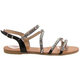 L. Lux. Shoes czarne Płaskie Sandałki Z Cyrkoniami