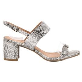 Ideal Shoes szare Modne Sandały Damskie