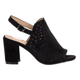 SHELOVET czarne Zamszowe Zabudowane Sandały