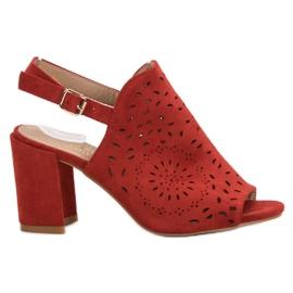 SHELOVET czerwone Ażurowe Sandały Na Obcasie