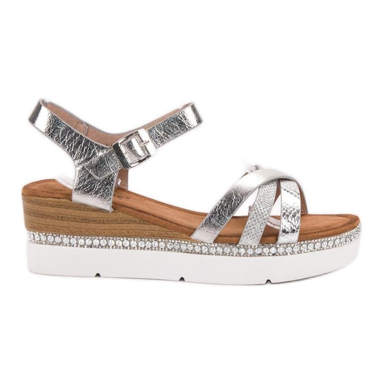 Seastar Modne Sandały Z Cyrkoniami szare