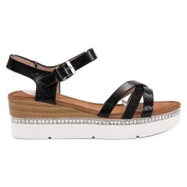 Seastar czarne Modne Sandały Z Cyrkoniami