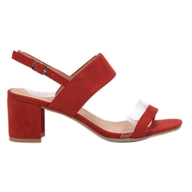 Ideal Shoes czerwone Modne Sandały Damskie