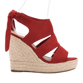 Cm Paris Czerwone Sandały Na Koturnie