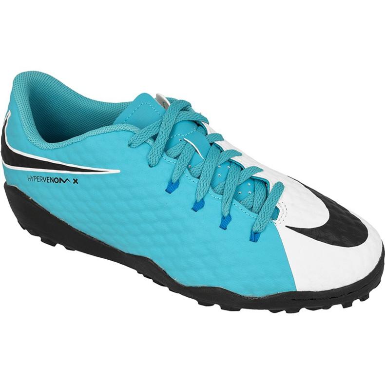 Buty piłkarskie Nike HypervenomX Phelon Iii Tf Jr 852598-104 biały, niebieski niebieskie