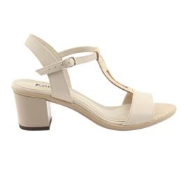 Brązowe Sandały damskie beżowe Anabelle 1447 beż/srebro