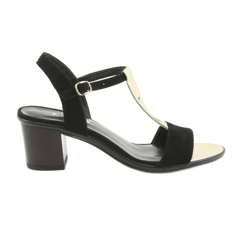 Sandały damskie Anabelle 1447 czarno/złote czarne żółte