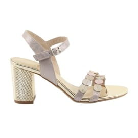 Sandały damskie srebrzysty róż Gamis 3658
