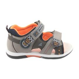 Sandałki chłopięce American Club DR13 szare pomarańczowe granatowe