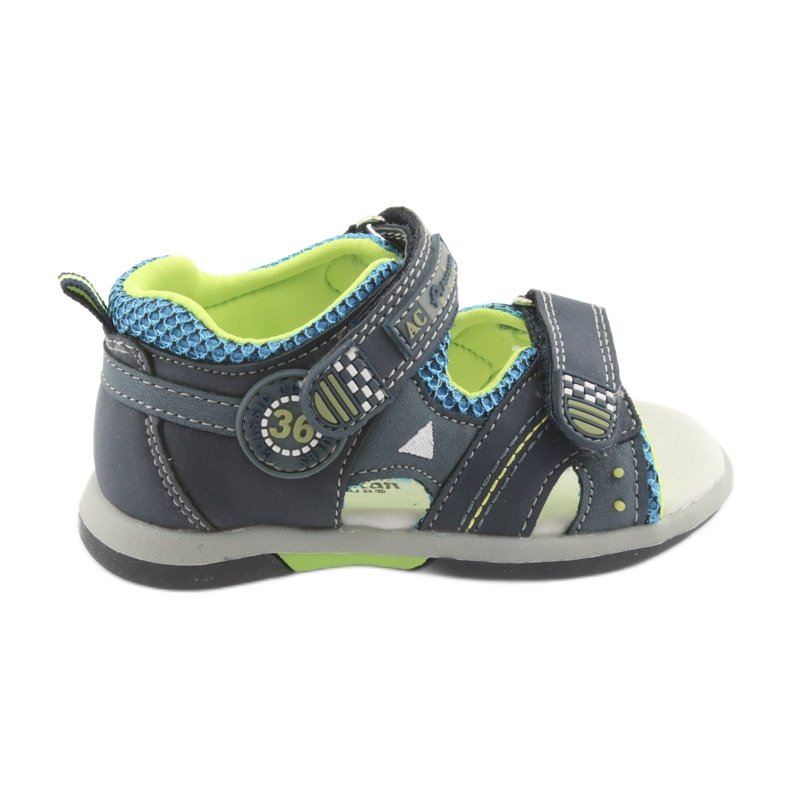 Sandałki chłopięce American Club DR13 granatowe niebieskie zielone