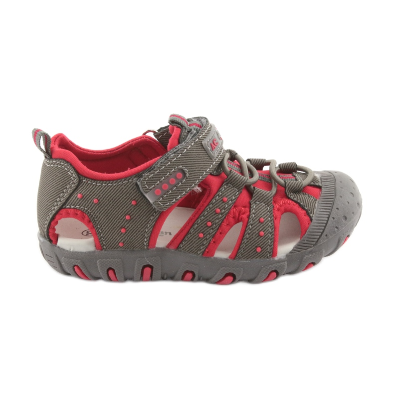 Sandałki chłopięce rzep American Club DR11 szare czerwone