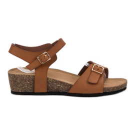 Seastar brązowe Klasyczne Sandały Na Koturnie