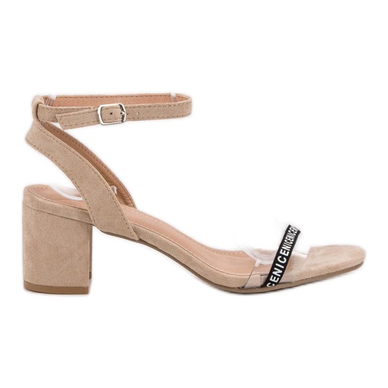 Ideal Shoes Stylowe Zamszowe Sandałki brązowe