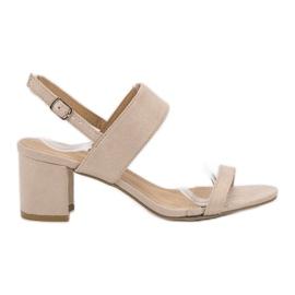 Ideal Shoes brązowe Modne Sandały Damskie