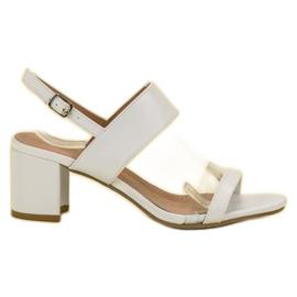 Ideal Shoes białe Modne Sandały Damskie
