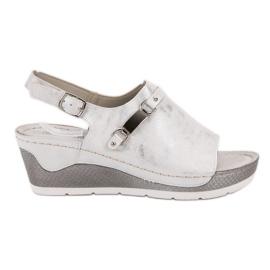 Goodin białe Wygodne Sandały Na Koturnie