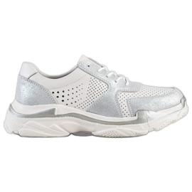 Goodin białe Skórzane Sneakersy Z Brokatem