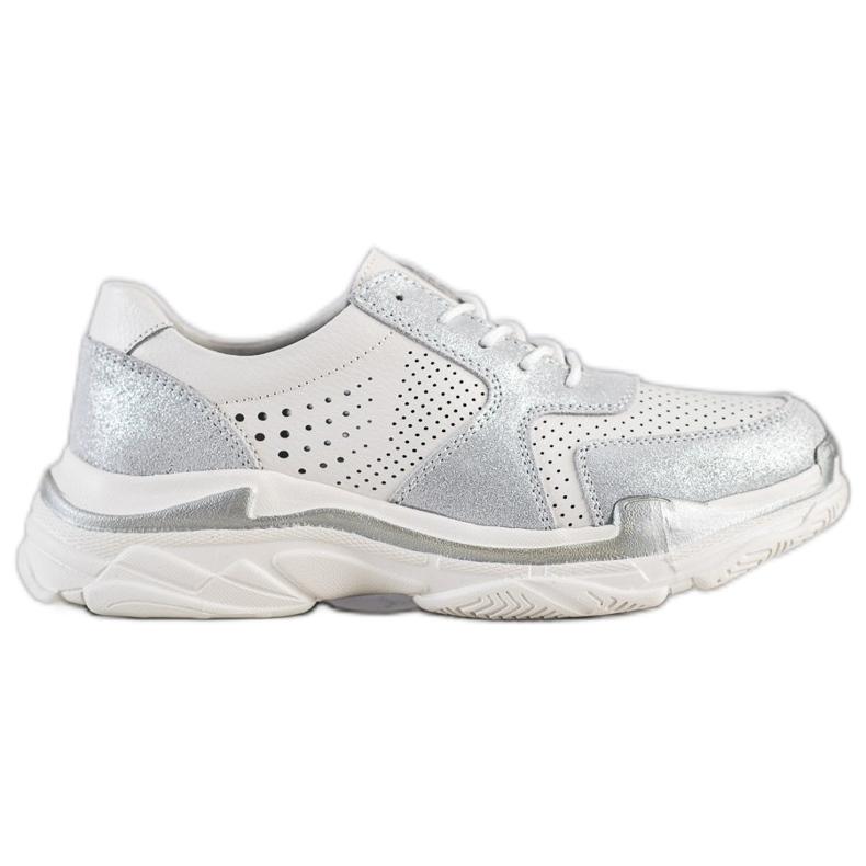 Goodin Skórzane Sneakersy Z Brokatem białe