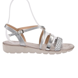Kylie szare Srebrne Sandały Na Platformie