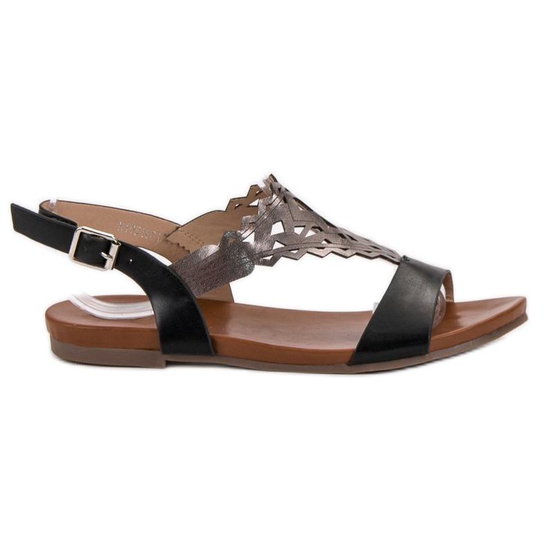 Kylie Stylowe Płaskie Sandałki czarne