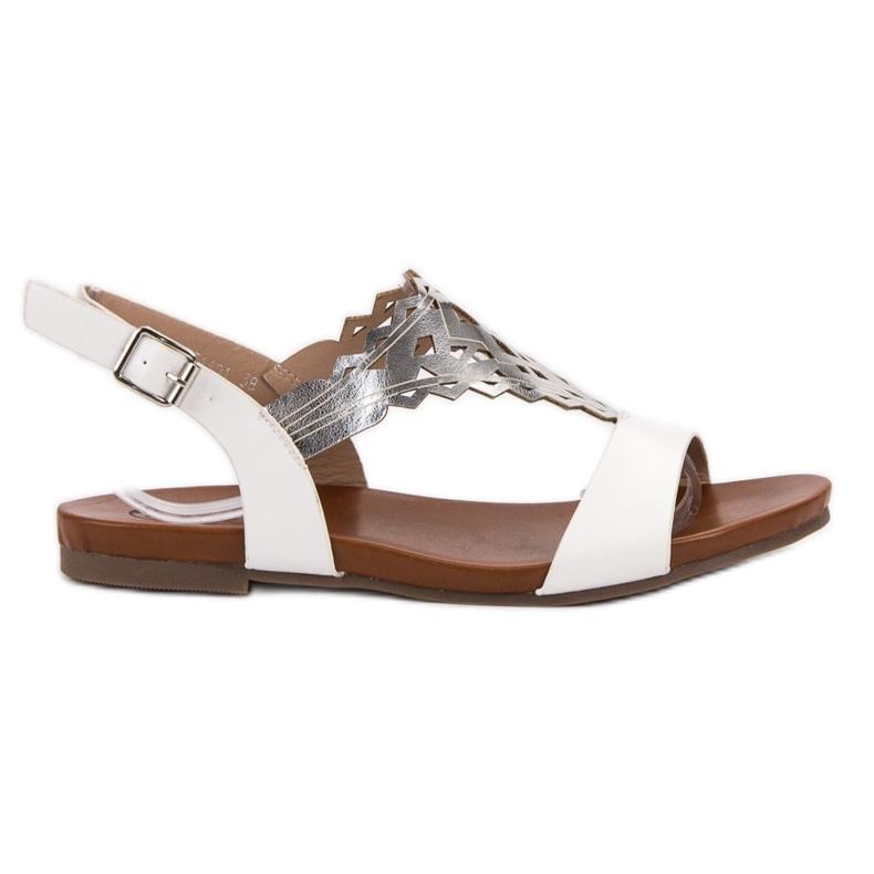 Kylie Stylowe Płaskie Sandałki białe