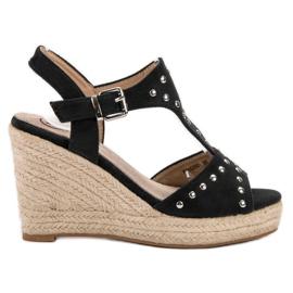 Kylie czarne Sandałki Z Dżetami