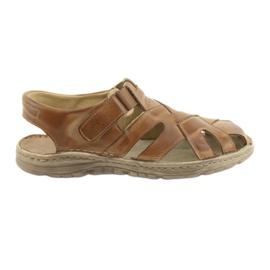 Brązowe Sandały męskie na rzep Naszbut 052 beżowe