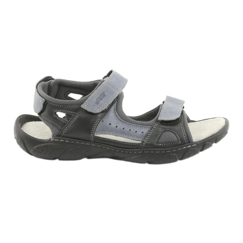 Sandały skórzane na rzepy Naszbut 043 czarne niebieskie szare