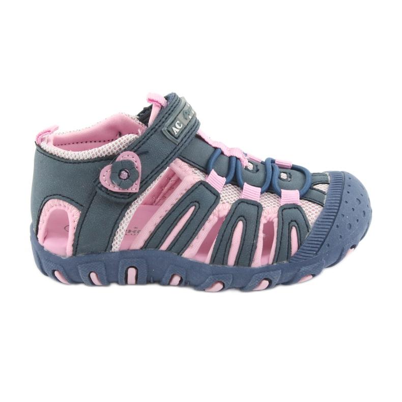 Sandałki sportowe American Club niebieskie różowe