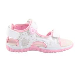 Sandałki dziewczęce sportowe American Club białe szare różowe