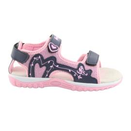 Sandałki dziewczęce sportowe American Club różowe granatowe