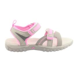 Sandałki dziewczęce sportowe American Club grey/pink