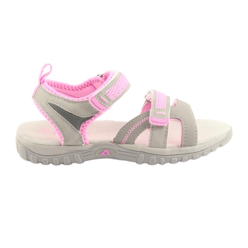Sandałki dziewczęce sportowe American Club HL14 grey/pink szare różowe