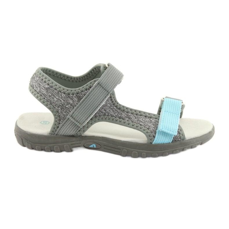 Sandałki z wkładką skórzaną American Club RL10 grey/blue niebieskie szare