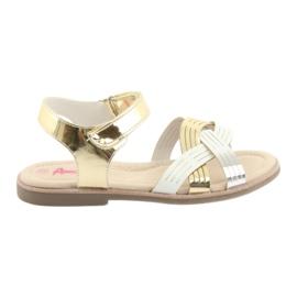 Sandałki dziewczęce metaliczne American Club GC23 białe szare żółte