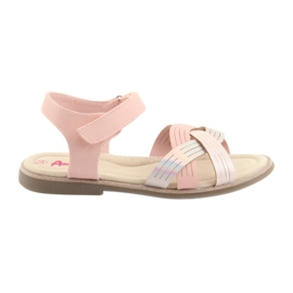 Sandałki dziewczęce metaliczne American Club GC23 różowe