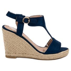 Anesia Paris niebieskie Modne Sandały Na Koturnie